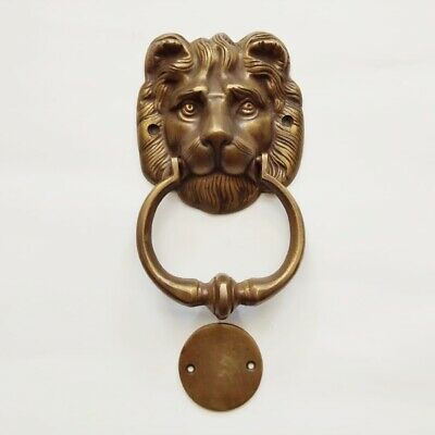 """LION head heavy front Door Knocker SOLID 100% BRASS vintage old style house 7"""" B 8"""