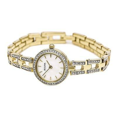 Bulova Women's 98L213 Swarvoski Crystal Accents Quartz Gold Tone 23mm Watch 3