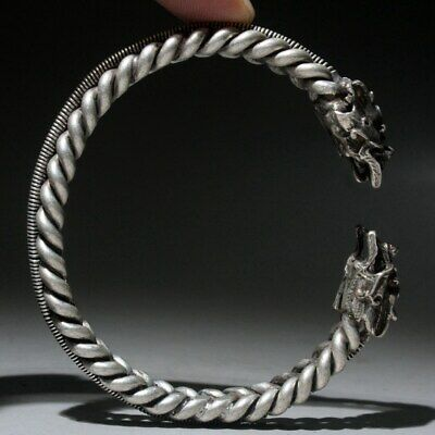 Collectable China Miao Silver Handwork Carve Dragon Head Exorcism Lucky Bracelet 3