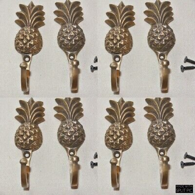 "8 very small PINEAPPLE BRASS HOOK COAT WALL MOUNTED HANG old style hook 3"" B 2"