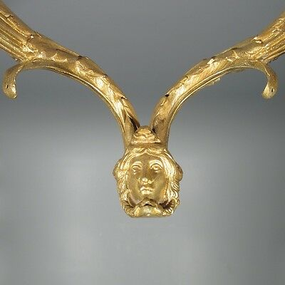 Antique French Gilded BronzeChandelier Arms, Sconce, Classical Head, Mask 3