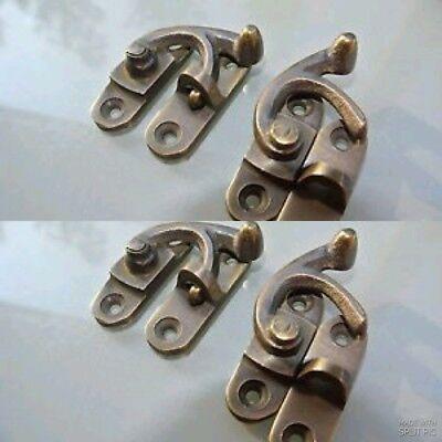 4 Nice medium small box Latch catch solid brass furniture 40 mm doors trinket 3