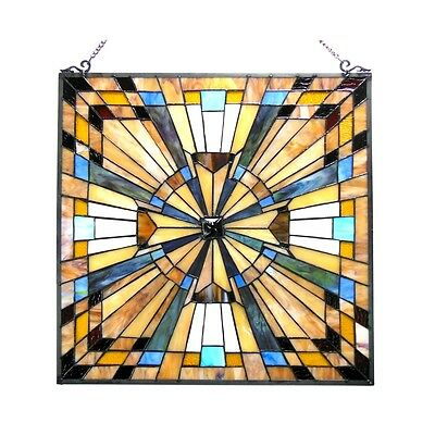 Matching PAIR Stained Glass Tiffany Style Window Panels Mission Design 24 x 24 2