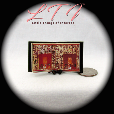 BOOK OF THE DEAD Illustrated Miniature Book Dollhouse 1:12 Scale Black Egyptian 9