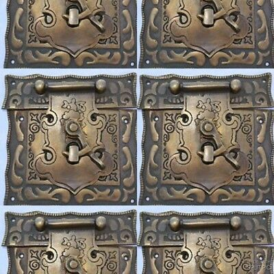 """4 box Latch catch solid brass furniture antiques doors kitchen old style 3"""" B 4"""