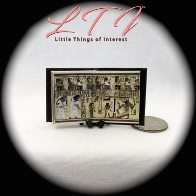 BOOK OF THE DEAD Illustrated Miniature Book Dollhouse 1:12 Scale Black Egyptian 10