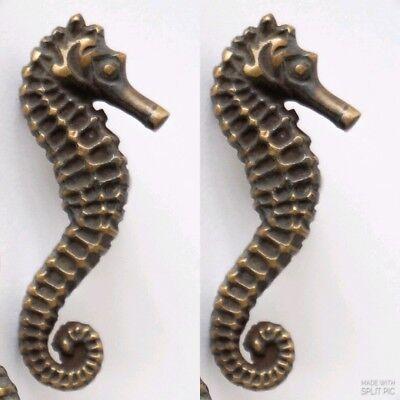 2 Sea Horse Cabinet Pull Set Door Knob Handle Seahorse pure aged Brass 7.5 cm B 8