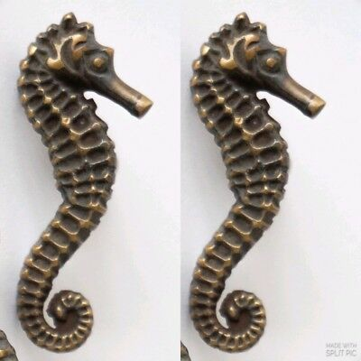 4 Sea Horse Cabinet Pull Set Door Knob Handle Seahorse pure aged Brass 7.5 cm B 11