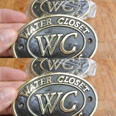 """4 toilet solid brass signs """" WC """" water closet screw door cast heavy 11.5 cm B 2"""