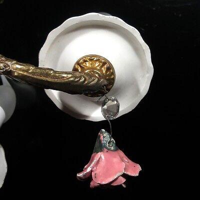 Vintage French Bronze Sconce, Crystal Prisms, Porcelain Flowers Roses & Bobeches 6