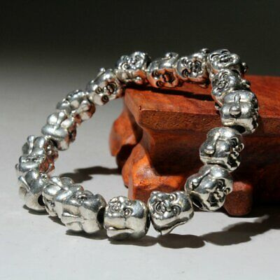 Collectable China Miao Silver Hand-Carve Delicate Buddha Head Beautiful Bracelet 2