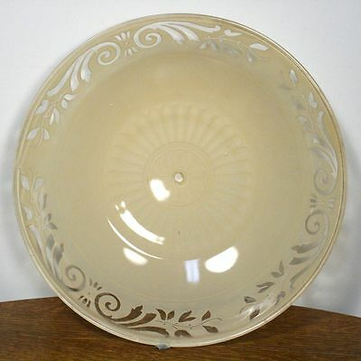 Large Antique ART DECO Round Ceiling Lamp Shade. Molded Glass Chandelier RARE 2