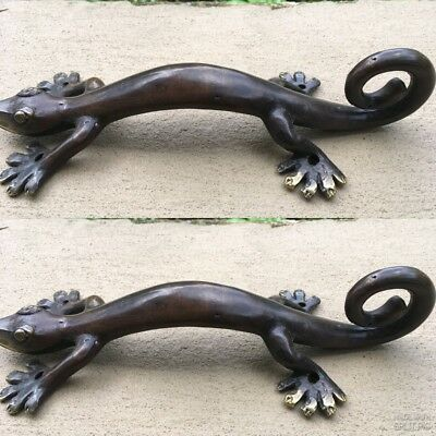 "3 small GECKO DOOR PULLS 21cm aged brass PLAIN old style house handle 8.1/2"" B 5"