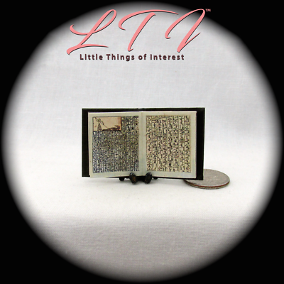 BOOK OF THE DEAD Illustrated Miniature Book Dollhouse 1:12 Scale Black Egyptian 6
