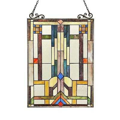 """Stained Glass Tiffany Style Window Panel Mission Arts & Crafts 17.5"""" x 25"""""""