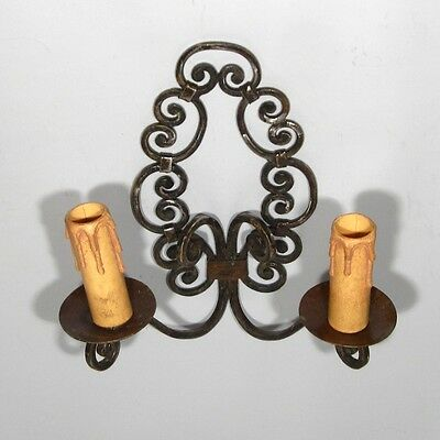 Vintage French Wrought Iron Sconce, 1920's 6 • CAD $99.54