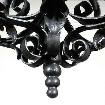 Vintage French Wrought Iron Chandelier Six Lights Mid-20th Century Riviera Style 6