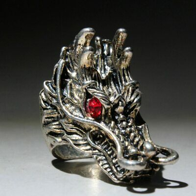 Chinese Collectable Miao Silver Handwork Carve Red Eye Dragon Head Delicate Ring 3