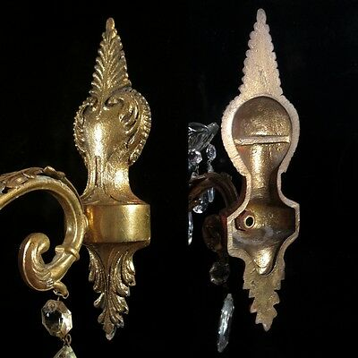 Vintage French Bronze Sconce with Crystal Bobeche and Pendeloque Prisms 6