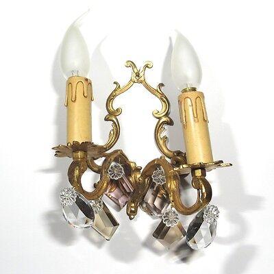 Vintage French Sconce, Pendeloque, Amethyst & Amber Crystal Prisms 11