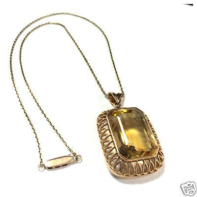 Antik Rotgold Set Goldkette Anhänger Ohrstecker Armband Ring Citrin 585er Gold
