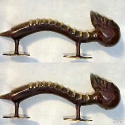 2 medium SKULL handle DOOR PULL spine solid brass old aged bronze style 28cm B 3