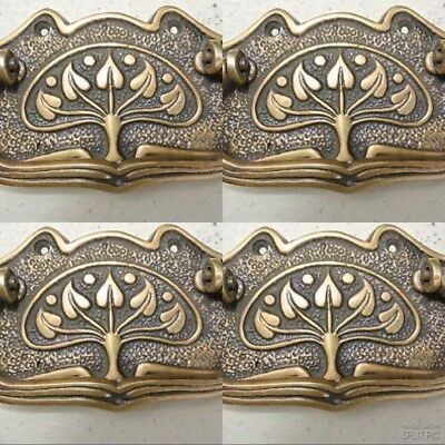 4 DECO cabinet handles solid brass furniture antiques vintage age style 95 mm 2