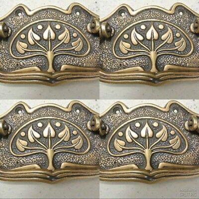 4 DECO cabinet handles solid brass furniture antiques vintage age style 9cmB 2
