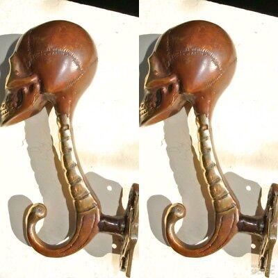 """2 SKULL head 7"""" long WALL HOOK heavy BRASS old style SCREW wall spine hang B 2"""