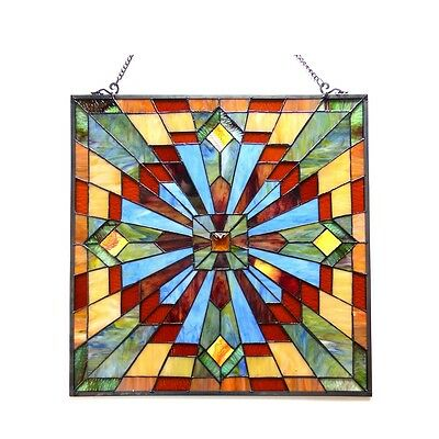 """Stained Glass Tiffany Style Window Panel Arts & Crafts Mission Design 24"""" x 24"""" 2"""