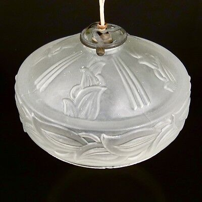 Vintage French Art Deco Frosted Glass Ceiling Shade, Iris Pattern