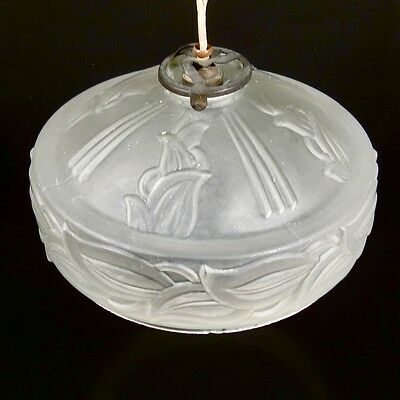 Vintage French Art Deco Frosted Glass Shade, Iris Pattern 3