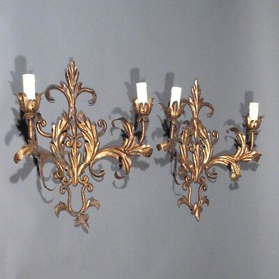 Pair of Vintage French Gilded Tole Sconces, Acanthus Leaves, Riviera Style 3