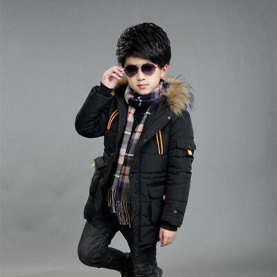 Warm Winter Boys Kids Hooded Warm Quilted Puffer Coat Jacket School Trendy Parka 4