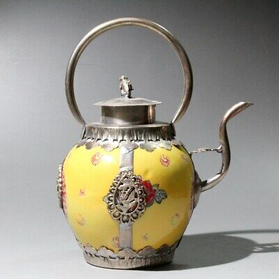 Collect China Old Miao Silver Enamel Porcelain Hand-Carved Phoenix Monkey Teapot 5