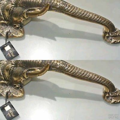 """2 large elephant DOOR handle pull solid brass hollow vintage style look 13"""" B 3"""