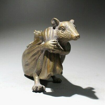 Collectable China Old Copper Hand-Carved Mouse Bring Wealth Interesting Statue 4