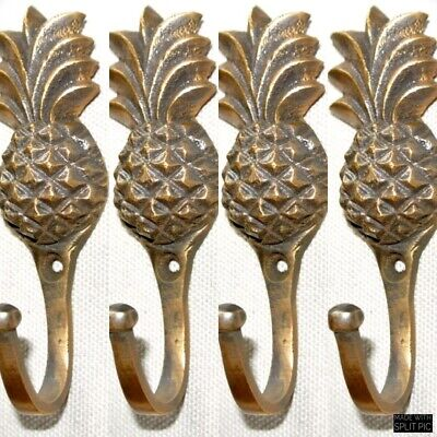 "4 very small PINEAPPLE BRASS HOOK COAT WALL MOUNTED HANG old style hook 3"" 3"