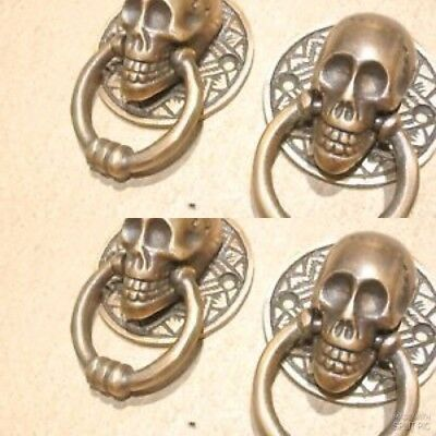 4 small SKULL head ring pull Handle cast BRASS day of the dead cabinet door 5cmB 2