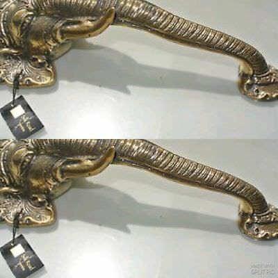 "2 large elephant DOOR handle pull solid brass hollow vintage style look 13"" B 4"