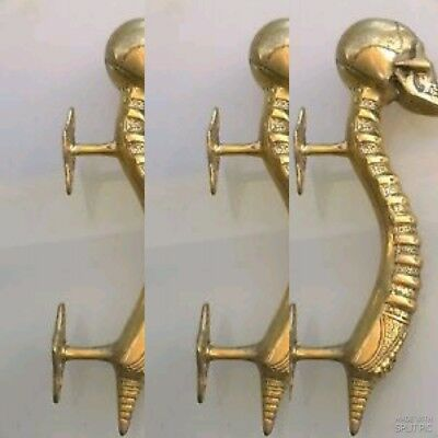 "3 small SKULL head handle DOOR PULL spine natural AGED BRASS old style 8"" B 6"