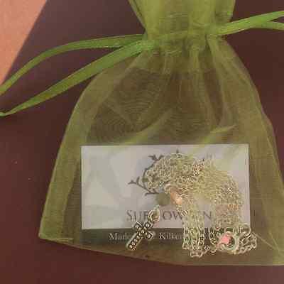 Choice of 4 Connemara marble cross pendants Celtic classic beaded.Irish jewelry 3