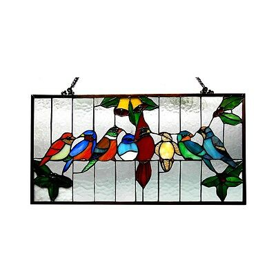 """Singing Birds on Wire Tiffany Style Stained Glass Window Panel  12.5"""" x 24.5"""" 2"""