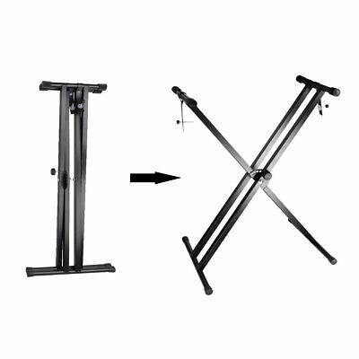"Black Keyboard Piano ""X"" Stand Electric Organ Rack Metal Height Adjustable New 3"