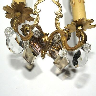 Vintage French Sconce, Pendeloque, Amethyst & Amber Crystal Prisms 8