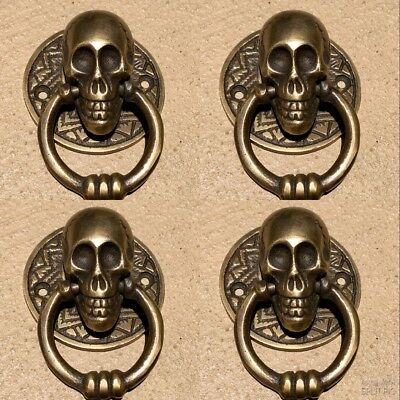 "4 small SKULL head handle DOOR PULL ring natural cast BRASS old style 5 cm 2"" 4"