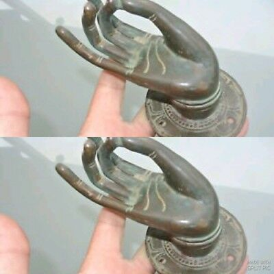 4 large BUDDHA Pull handle hand brass age green door old style knob hook 8cm B 7