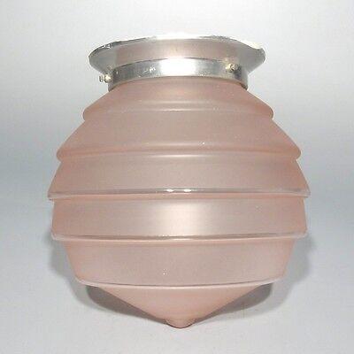 Vintage French Art DecoCeiling FixtureChandelier Pink Glass Globe Shade 5