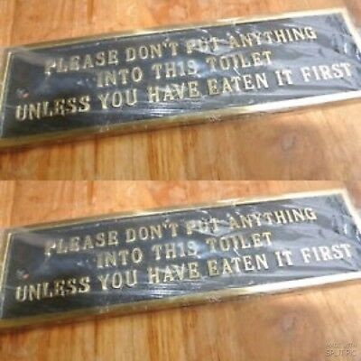 "2 solid brass sign"" toilet ""screw to door cast heavy vintage style 23 cm long B 2"