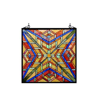 "Stained Glass Tiffany Style Window Panel Mission Arts & Crafts Design 24"" x 24"" 2"